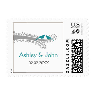 whimsy tree blue lovebirds wedding stamps