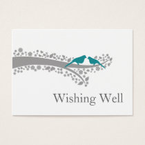 whimsy tree blue lovebirds wishing well cards