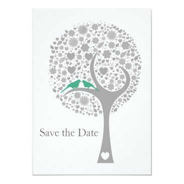 whimsy tree mint lovebirds mod save the date card