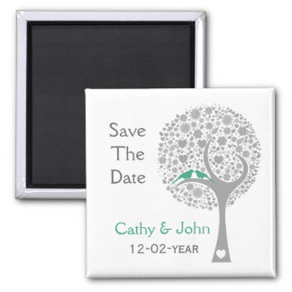 whimsy tree mint lovebirds mod save the date magnet
