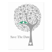 whimsy tree mint lovebirds mod save the date postcard