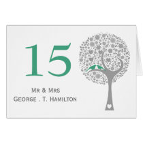 whimsy tree mint lovebirds mod table numbers card