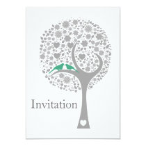 whimsy tree mint lovebirds mod wedding invites