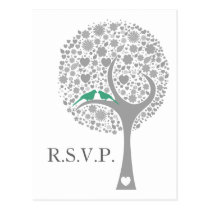 whimsy tree mint lovebirds mod wedding rsvp postcard