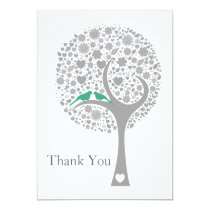 whimsy tree mint lovebirds mod wedding Thank You Card