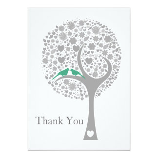 whimsy tree mint lovebirds mod wedding Thank You 5x7 Paper Invitation Card