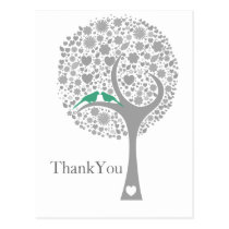 whimsy tree mint lovebirds mod wedding Thank You Postcard