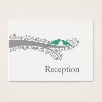 whimsy tree mint lovebirds Reception Cards
