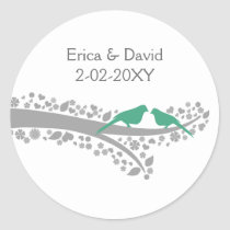 whimsy tree mint lovebirds wedding favor stickers
