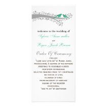 whimsy tree mint lovebirds Wedding program