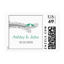 whimsy tree mint lovebirds wedding stamps
