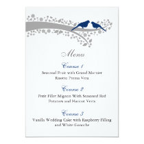 whimsy tree navy blue lovebirds menu cards