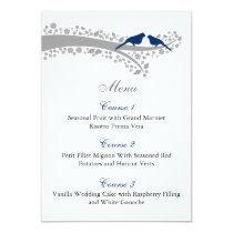 whimsy tree navy blue lovebirds menu cards