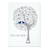 whimsy tree navy blue lovebirds mod save the date card