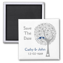 whimsy tree navy blue lovebirds mod save the date magnet