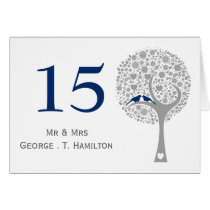 whimsy tree navy blue lovebirds mod table numbers card