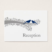 whimsy tree navy blue lovebirds Reception Cards