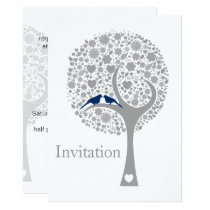 whimsy tree navy blue lovebirds wedding invites