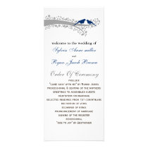 whimsy tree navy blue lovebirds Wedding program