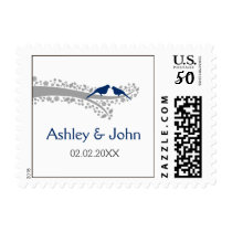 whimsy tree navy blue lovebirds wedding stamps