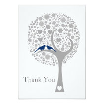 whimsy tree navy blue lovebirds wedding Thank You Card
