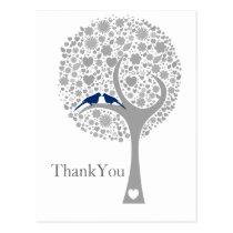 whimsy tree navy blue lovebirds wedding Thank You Postcard