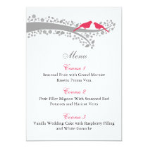 whimsy tree pink lovebirds menu cards