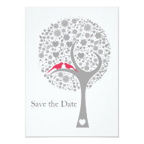 whimsy tree pink lovebirds mod save the date card