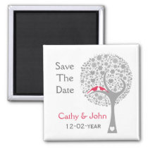 whimsy tree pink lovebirds mod save the date magnet