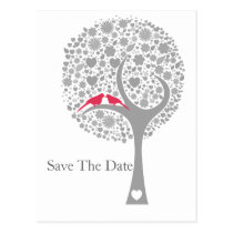 whimsy tree pink lovebirds mod save the date postcard