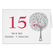 whimsy tree pink lovebirds mod table numbers card