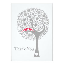 whimsy tree pink lovebirds mod wedding Thank You Card