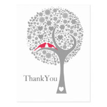 whimsy tree pink lovebirds mod wedding Thank You Postcard