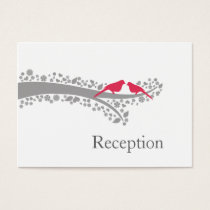 whimsy tree pink lovebirds Reception Cards