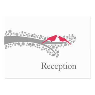 whimsy tree pink lovebirds Reception Cards Business Cards