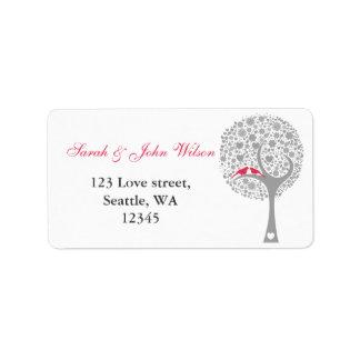whimsy tree pink lovebirds return address label