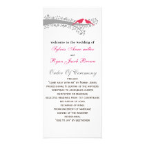 whimsy tree pink lovebirds Wedding program