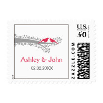 whimsy tree pink lovebirds wedding stamps