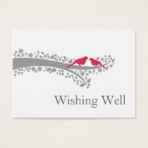 whimsy tree pink lovebirds wishing well cards