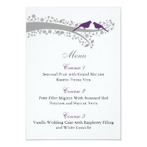 whimsy tree purple lovebirds menu cards