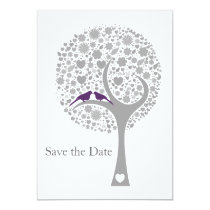 whimsy tree purple lovebirds mod save the date card