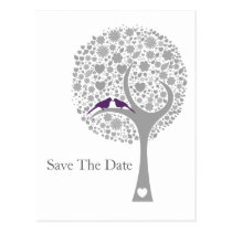 whimsy tree purple lovebirds mod save the date postcard