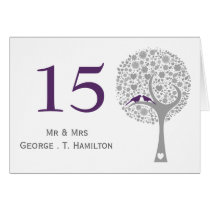 whimsy tree purple lovebirds mod table numbers card