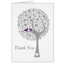 whimsy tree purple lovebirds mod wedding Thank You Card