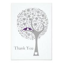 whimsy tree purple lovebirds mod wedding Thank You Card