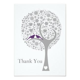 whimsy tree purple lovebirds mod wedding Thank You 5x7 Paper Invitation Card