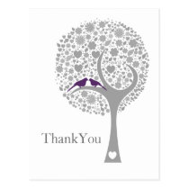 whimsy tree purple lovebirds mod wedding Thank You Postcard