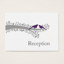 whimsy tree purple lovebirds Reception Cards
