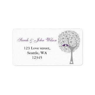 whimsy tree purple lovebirds return address label