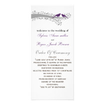whimsy tree purple lovebirds Wedding program
